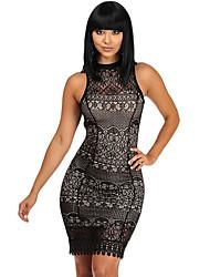 Women's Black Lace Crochet Trim Open Back Club Dress