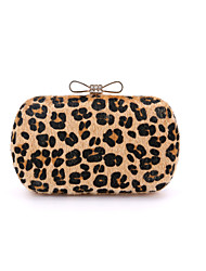Women Bags All Seasons Suede Other Leather Type Evening Bag with Fur for Wedding Event/Party Formal Leopard Light Green Light gray