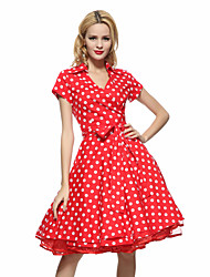 Maggie Tang Women's 50s VTG Retro Polka Dot Rockabilly Hepburn Pinup Cos Party Parka Business Swing Dress 566