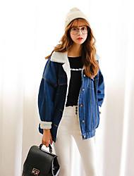Feminino Jaquetas Jeans Happy-Hour / Casual Simples / Fofo / Moda de Rua Outono / Inverno,Sólido Azul Algodão Colarinho de Camisa-Manga