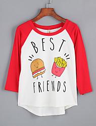 Damen Buchstabe Street Schick Lässig/Alltäglich T-shirt,Rundhalsausschnitt Herbst Langarm Rot / Schwarz Baumwolle Mittel