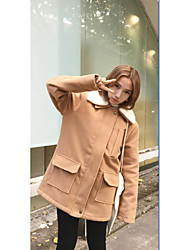Women's Casual/Daily Simple CoatSolid Long Sleeve Winter
