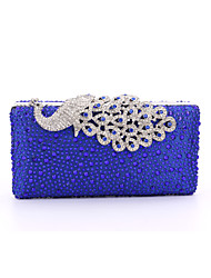 Lady Satin Formal / Event/Party / Wedding Evening Bag/Purse/Shimmering Diamonds Hand Bag/Rhinestones/Peafowl/Clutch/Bird