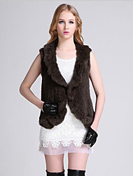Women's Casual/Daily Simple Fur Coat,Solid Round Neck Sleeveless Fall / Winter Brown Rabbit Fur / Faux Fur