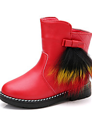 Girl's Boots Spring / Fall / Winter Bootie / Comfort Leather Outdoor / Casual Low Heel Zipper Black / Red Walking
