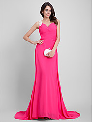 A-Line Sweetheart Floor Length Chiffon Formal Evening Dress with Embroidery