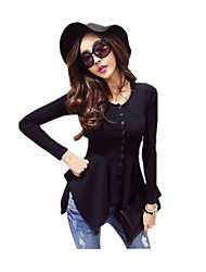 Women's Wild Fashion Casual/Daily Round Neck Solid Color Black / White  T-shirt