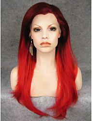 imstyle 24''drag reine populaire rouge longue ligne droite synthétique avant naturelle dentelle perruques de haute qualité