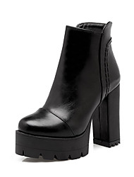 Women's Zipper Round Closed Toe High Heels Low-Top Boots