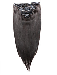 7 pcs / définir clip en extensions de cheveux naturels 14inch 18inch 100% de cheveux humains noir pour les femmes