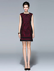 Women's Going out / Casual/Daily / Formal Vintage / Chinoiserie / Sophisticated Bodycon Dress,Embroidered Square Neck Above Knee