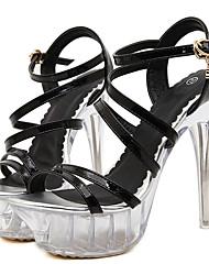 Mujer-Tacón Stiletto Tacón de cristal-Plataforma Innovador-Sandalias-Vestido Fiesta y Noche-PU-Plata Negro y oro