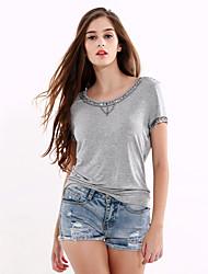 Damen Solide Einfach Ausgehen / Lässig/Alltäglich T-shirt,Rundhalsausschnitt Sommer / Herbst Kurzarm Grau Baumwolle / Polyester Mittel