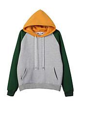 Women's Casual/Daily Simple / Active Regular Hoodies,Color Block White / Gray Hooded Long Sleeve Cotton Fall / Winter Medium Stretchy