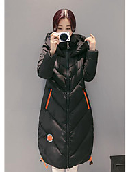 Women's Padded Coat,Simple Casual/Daily Solid-Others Polypropylene Long Sleeve Black / Brown / Gray