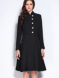 Mary Yan & Yu  Women's Casual/Daily Simple A Line DressSolid Stand Above Knee  Sleeve Black Polyester Fall Mid Rise Inelastic Medium