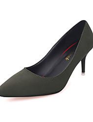 Women's Heels Winter Comfort Cashmere Casual Stiletto Heel Hollow-out Black Green Gray Walking