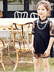 Girl's Casual/Daily Solid DressCotton Spring / Fall Black
