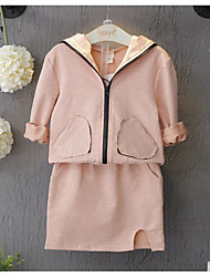 Girl's Going out Solid Suit & Blazer / Clothing SetCotton Spring / Fall Blue / Pink