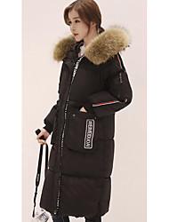 Women's Down Coat,Simple Casual/Daily Plus Size Solid-Polyester Polypropylene Long Sleeve Black Gray Green