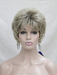 New Medium Golden Brown Mix Blonde Short  Wavy Synthetic Hair Full Women's Wig For Everyday