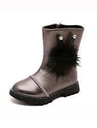 Girl's Boots Spring / Fall Comfort PU Dress /  Flat Heel Beading / Zipper Black / Red / Silver / Burgundy Walking