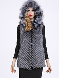 BF-Fur Style Women's Casual/Daily Sophisticated Fur CoatSolid Hooded Sleeveless Winter Gray Fox Fur