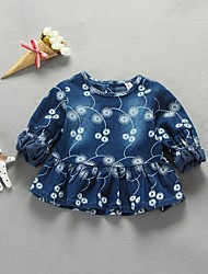 Baby Casual/Daily Jacquard Dress,Cotton Spring / Fall Blue