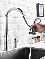 Contemporary Chrome Finish Single Handle Two Holes Pull-down Kitchen Faucet