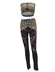 Women's Going out / Club Sexy / Street chic Bare Midriff Summer / Fall Tank Top PantPrint Strapless Sleeveless
