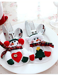 2pcs Xmas Decor Lovely Snowman Kitchen Tableware Holder Pocket Dinner Cutlery Bag Party