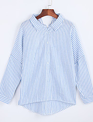 Women's Fall ShirtStriped Shirt Collar Long Sleeve Polyester Medium