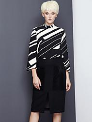 Damen Extraklein Röcke,Bodycon einfarbig Geschlitzt,Arbeit Einfach Hohe Hüfthöhe Knielänge Reisverschluss Kunstseide / Polyester / Wolle