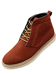 Men's Boots Fall Winter Comfort PU Casual Flat Heel Lace-up Black Brown Coffee