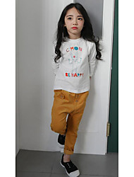 Girl's Casual/Daily Solid JeansCotton Fall Yellow