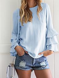 Tee-shirt Femme,Couleur Pleine Décontracté / Quotidien / Sportif / Vacances Sexy / Chic de Rue / Actif Automne / Hiver Manches LonguesCol