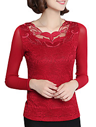 Spring Fall Women's Plus Size Go out Solid Color Patchwork Hollowing Round Neck Net yarn Long Sleeve Lace Blouse