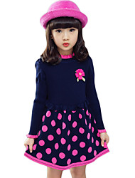 Girl's Casual/Daily Polka Dot Dress,Cotton Spring / Fall Black / Red