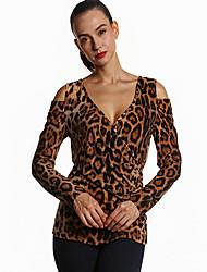 Damen Leopard Sexy / Einfach Ausgehen / Lässig/Alltäglich T-shirt,Tiefes V Frühling / Herbst Langarm Braun Polyester Mittel