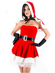 Women'S Red Hat  Off Shoulder Christmas Fancy Dress