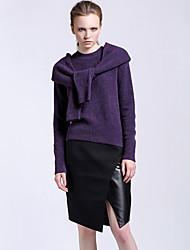 Damen Röcke - Einfach Übers Knie / Asymmetrisch Wolle / Polyester / Elasthan Mikro-elastisch