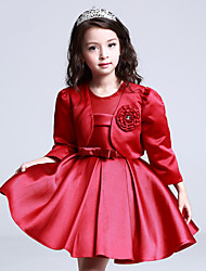 A-line Knee-length Flower Girl Dress - Satin 3/4 Length Sleeve Jewel with Flower(s)