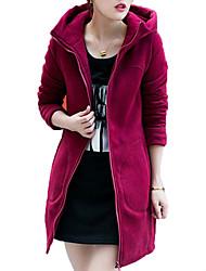 Long Hoodies Femme Sportif / Grandes Tailles simple / Sophistiqué,Couleur Pleine Rouge / Noir / Gris Capuche Manches Longues Rayonne