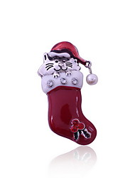 Christmas Women Red Cat Christmas Hat Socks Brooches