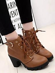Damen Stiefel Komfort Stiefeletten PU Frühling Herbst Winter Normal Komfort Stiefeletten Schnalle Reißverschluss Schnürsenkel Blockabsatz