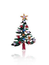 рождественские женщины зеленый дерево белый медведь броши