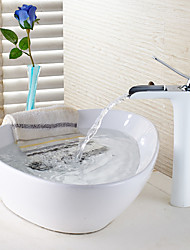 Contemporâneo / Tradicional Conjunto Central Cascata with  Válvula Cerâmica Single Handle Uma Abertura for  Pintura , Torneira pia do