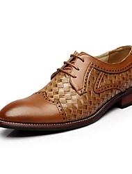 Для мужчин Туфли на шнуровке Удобная обувь Полиуретан Свадьба Удобная обувь Черный Коричневый Менее 2,5 см
