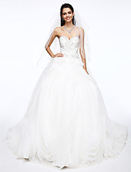Ball Gown Sweetheart Court Train Organza Satin Wedding Dress with Beading Flower by LAN TING BRIDE®