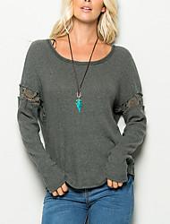 Damen Solide Einfach Lässig/Alltäglich T-shirt,Rundhalsausschnitt Herbst / Winter Langarm Grau Kunstseide / Polyester Dünn